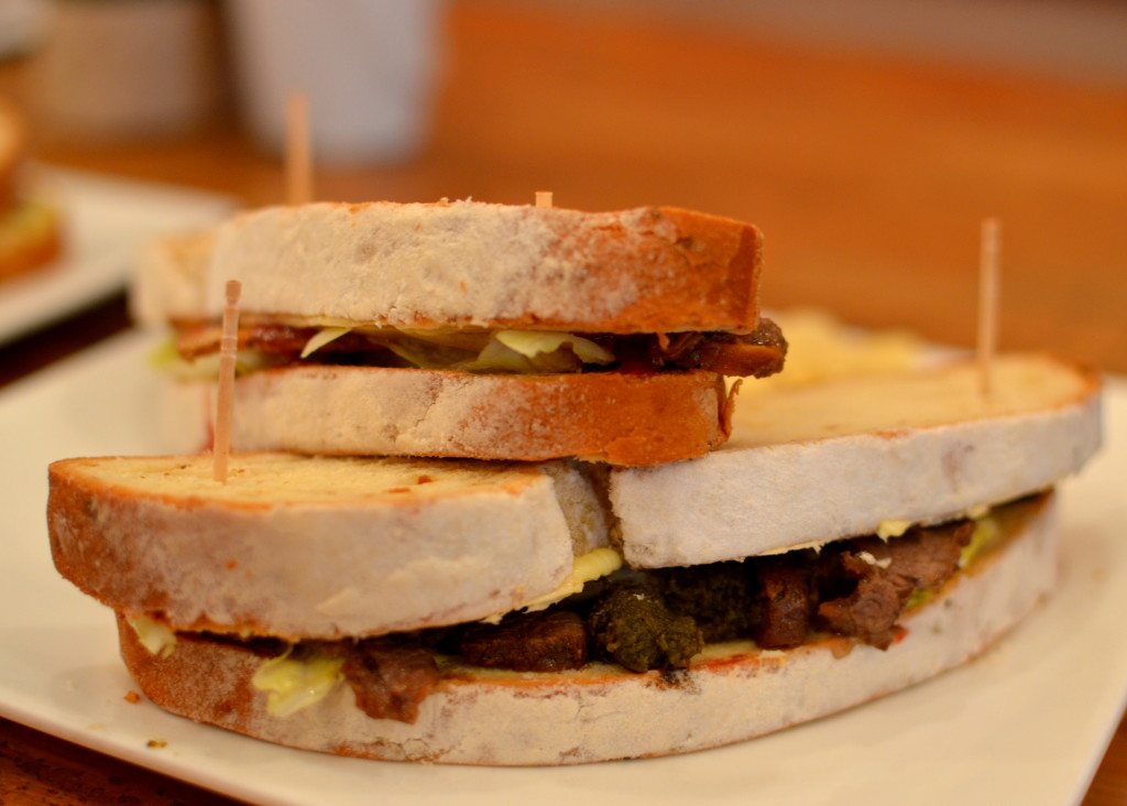 mutton sandwich on focaccia bread