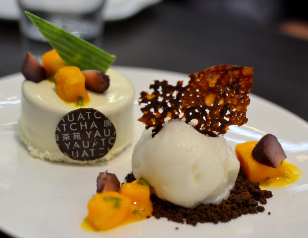 Wine-soaked water chestnut and mango cake with Sauvignon sorbet