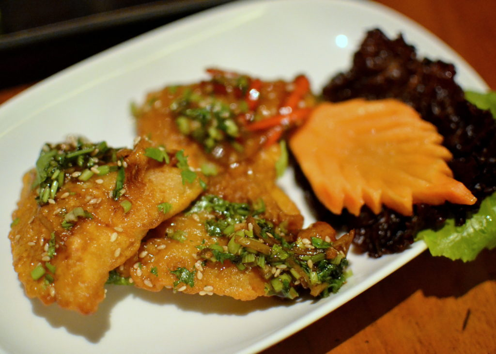 Crispy Fried Bekti with Ginger and Sesame Seeds