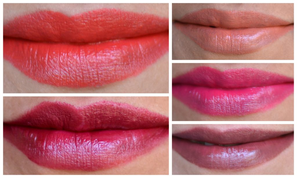lakme argan oil lipstick swatches - clockwise from the top - Soft Nude, Pink Satin, Deep Brown, Juicy Plum, Ruby Velvet
